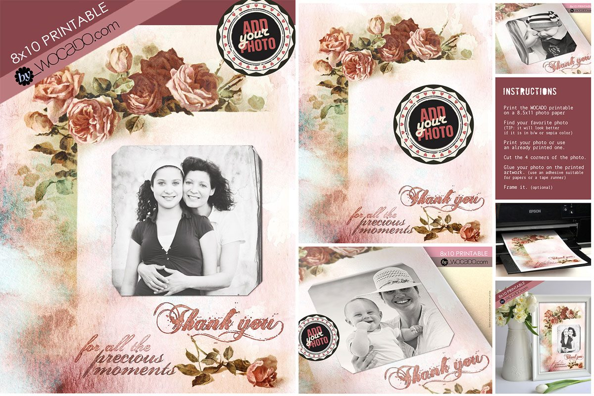 Mothers Day Vintage Personalized 8x10 Printable by WOCADO